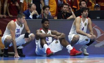 CSKA Viktor Khryapa, Kyle Hines and Milos Teodosic