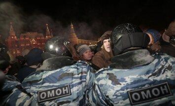 Maskavā protesta akcija pret Navaļnija notiesāšanu turpinājusies visu nakti