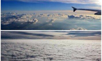 Apsēsties uz mākoņa maliņas: brīnumskaisti foto pa lidmašīnas logu
