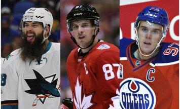 NHL kolēģi sezonas labākā spēlētāja balvai izvirza Krosbiju, Mekdeividu un Bērnsu