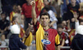 Galatasaray Istanbul`s scorer Hakan Sukur