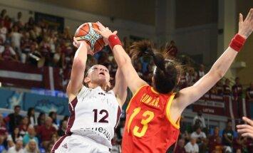 Latvijas basketbolistes Pasaules kausā debitē ar dramatisku zaudējumu Ķīnai