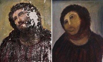 Spānijā draudzes locekle senu Jēzus fresku pārvērš 'spalvainā pērtiķī'