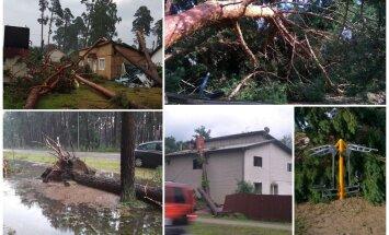 Foto: Saknēm izrauti koki un norauti jumti – vētras postījumi Saulkrastos