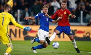 Itālija un Spānija grandu duelī cīnās neizšķirti; Islande kompensācijas laikā izrauj uzvaru