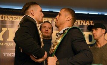 Foto: Briedis un Usiks ieskatās viens otram acīs pirms WBSS pusfināla cīņas