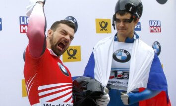 Skeleton, gold medalist Martins Dukurs and bronze Nikita Tregybov