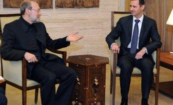 Asads Damaskā tiekas ar Irānas parlamenta spīkeru