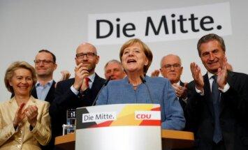 Prognozes: Merkeles konservatīvie vēlēšanās izcīnījuši aptuveni 33% balsu