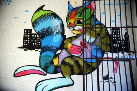 На улице Таллинас в Риге появились новые сочные рисунки граффити