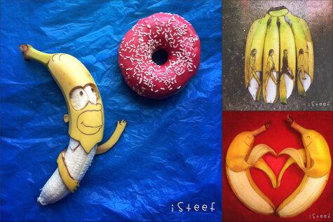 Повелитель бананов: рисует на них, лепит из них и красиво вырезает по ним