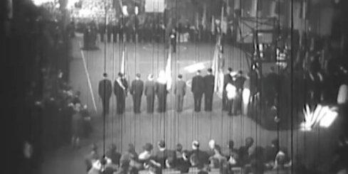 Arhīva video: 1937. gada Eiropas basketbola čempionāta atklāšana Rīgā