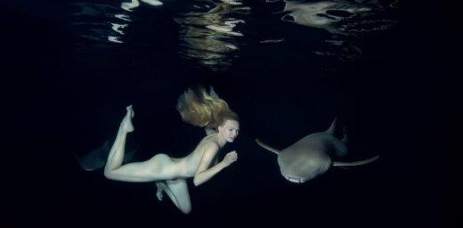 Asinis stindzinoši kadri: Kailā Irina peldas ar haizivīm