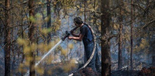 Лесной пожар в Валдгалской волости все еще не удалось ограничить