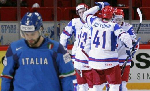 Krievija grupu turnīru noslēdz bez zaudējumiem; Itālija zaudē vietu PČ augstākajā divīzijā