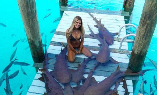 Niršana ar haizivīm un delfīniem: par sensāciju kļūst ceļotāja Sāra