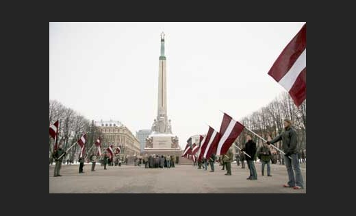 16 марта у памятника Свободы. Фото - LETA