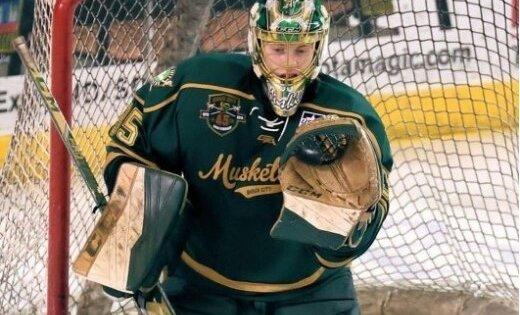 Vārtsargam Kivleniekam lielisks sniegums un spožākās zvaigznes tituls AHL spēlē