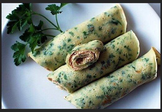 Рецепт блинчиков с творожно-чесночной начинкой