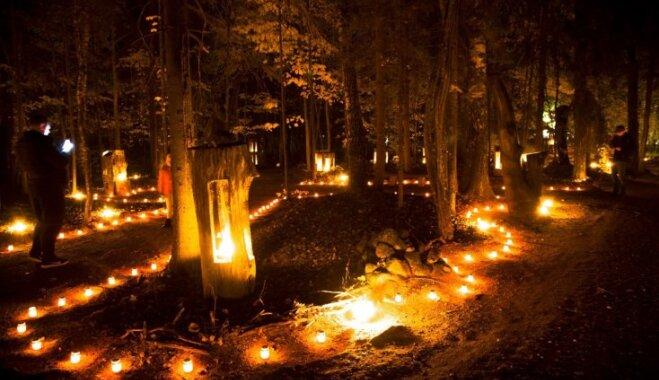 Iespaidīgi foto: Gadskārtējā Uguns nakts Vienkoču parkā
