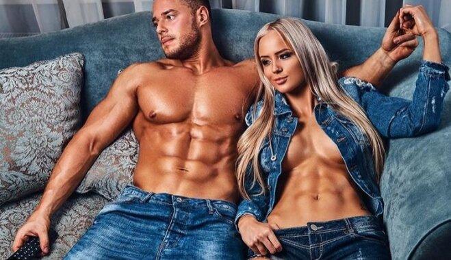 История любви известных в Латвии фитнес-тренеров: вместе на фото, в спортзале и дома