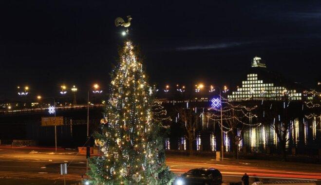 ФОТО: зажжены огни на Рижской елке на набережной