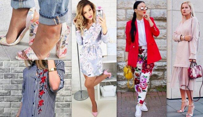 Vasaras gaidās: idejas tērpu salikumiem ar ziedu apdruku