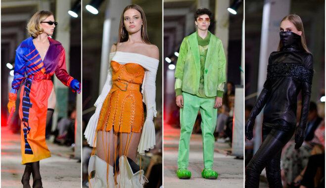 Foto: Jaunie modes mākslinieki atrāda drosmīgas tērpu kolekcijas