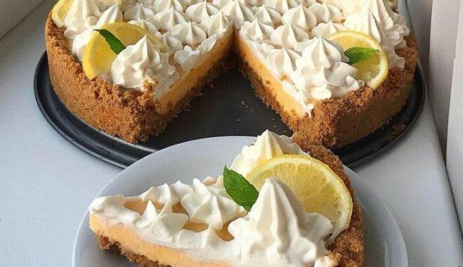 Citronu tarte bez cukura ar liesu krēmsiera pildījumu