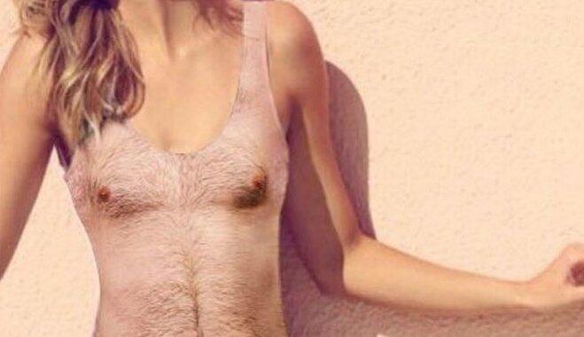 Vīrieša kailās ķermeņa aprises uz peldkostīma: pludmales tērps, kas saviļņojis daudzus