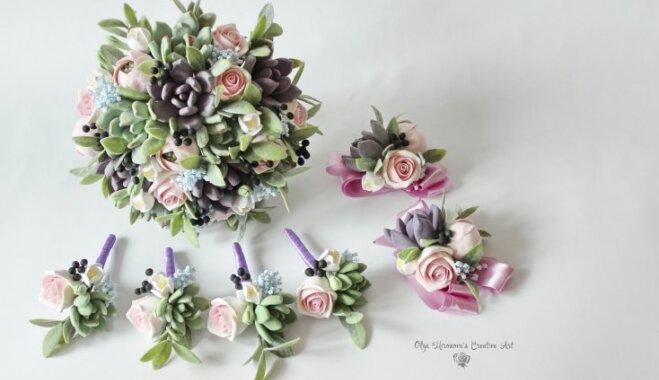Cita versija par kāzu pušķi – keramikas ziedi