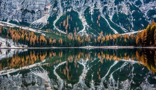Alpu acs: tirkīzzilais Braiesa ezers pie Itālijas un Austrijas robežas