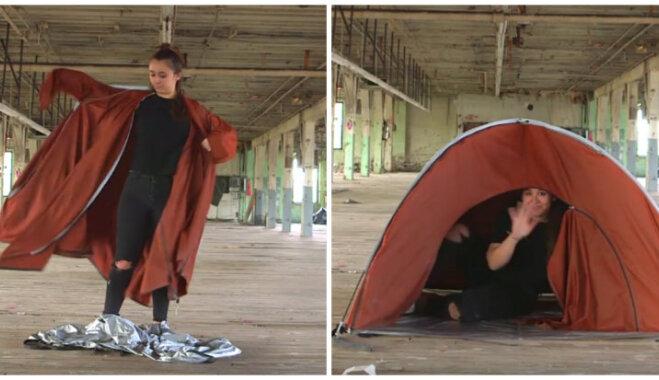 Telts, ko valkā kā mēteli, jaka, kas ir arī guļammaiss – dizainere radījusi risinājumu, lai ceļotu bez somām
