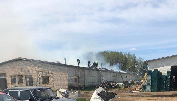 Glābēji lokalizē plašu ugunsgrēku angārā Ogres novadā (plkst. 16:10)