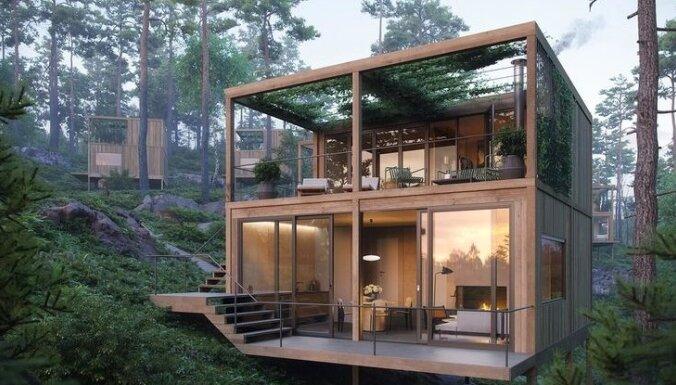 Foto: Omulīgās koka mājiņas Norvēģijas gleznainajos mežos