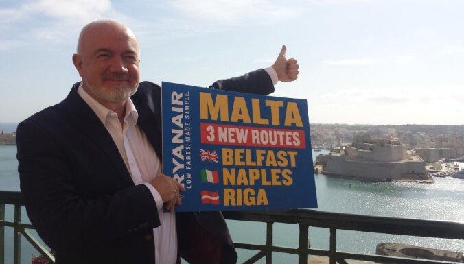 'Ryanair' lidos jaunā maršrutā no Rīgas uz Maltu