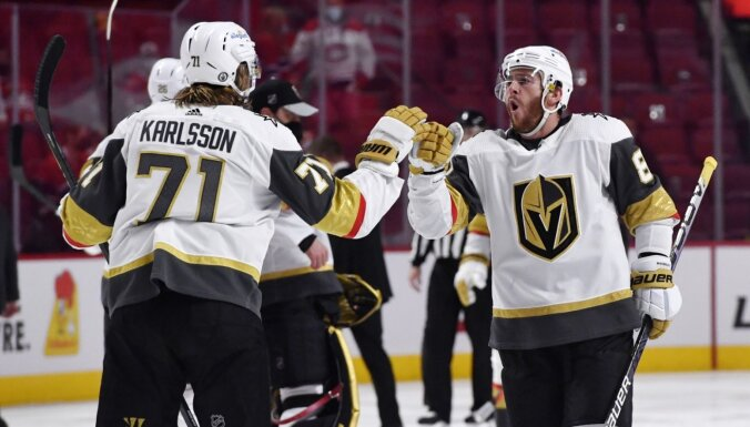 'Golden Knights' papildlaikā izrauj uzvaru un sērijā pret 'Canadiens' panāk neizšķirtu