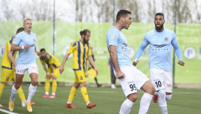 Miloševiča 'hat-trick' ļauj 'Riga' FC pārliecinoši pieveikt 'Ventspili'