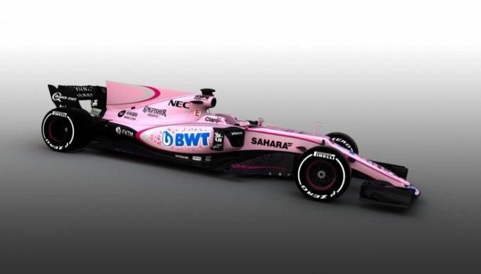 'Force India' nomaina bolīda dizainu uz piemīlīgi rozā