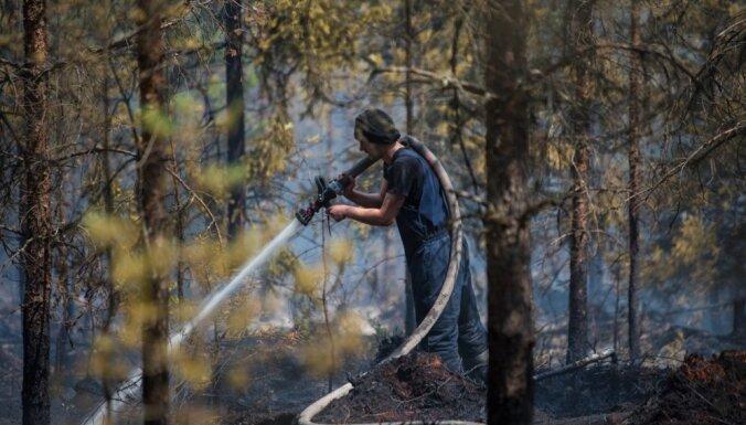 Spēcīgais lietus būtiski atvieglojis Valdgales kūdras purva un meža ugunsgrēka dzēšanu