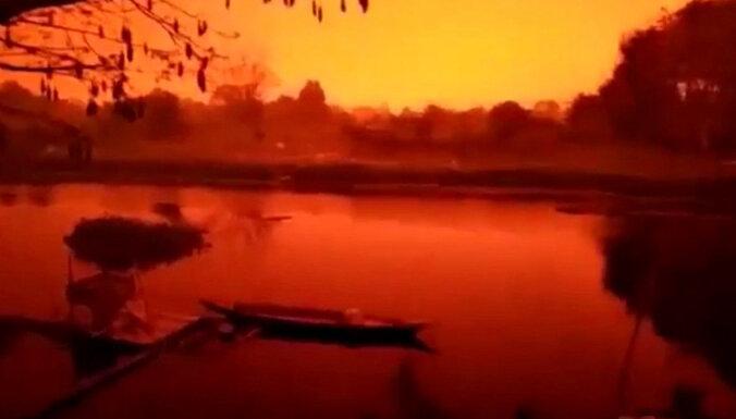 Этюд в багровых тонах: Из-за дыма природных пожаров красная мгла окутала Индонезию (ФОТО, ВИДЕО)