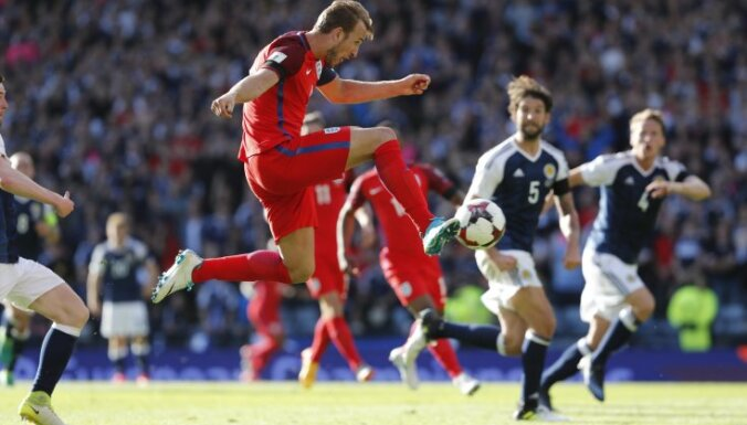 England Harry Kane scores to Scotland