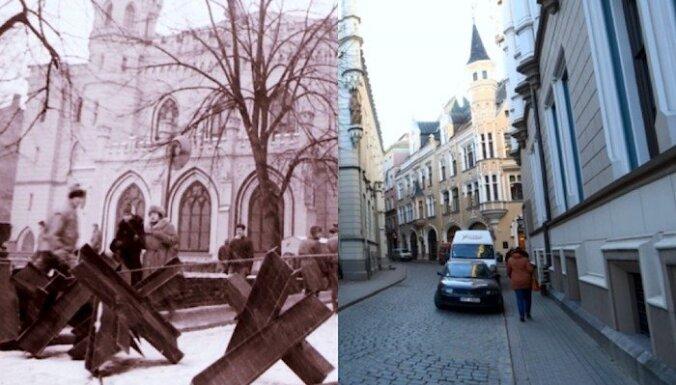 ФОТО: улицы Риги во время баррикад 1991 года и сейчас