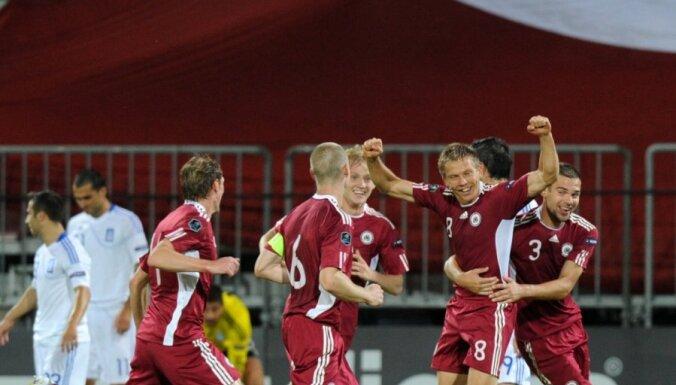 Latvijas futbola izlase nospēlē neizšķirti ar Grieķijas valstsvienību