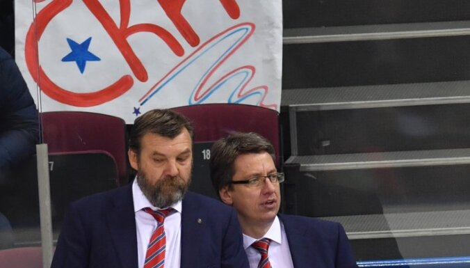 SKA head coach Oleg Znarok and Harijs Vitolins