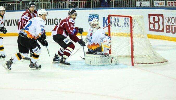 'Rīgas' hokejistiem 'sausais' zaudējums MHL izslēgšanas spēļu turnīra otrajā spēlē