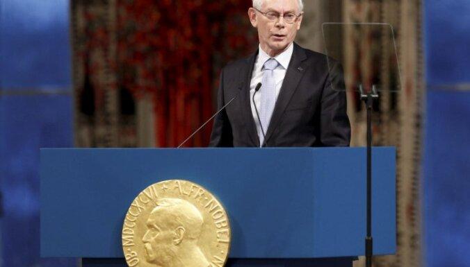 При получении Нобелевской премии мира Херман ван Ромпей упомянул страны Балтии