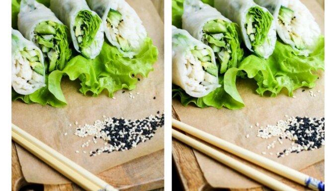 Rīsu nūdeļu, avokado un gurķu rullīši