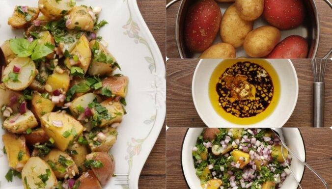 Izcili kartupeļu salāti ar vīna etiķa un ķiploku mērci