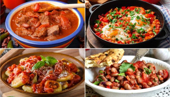 Tomātos sutināta gaļa, zivis un pat pelmeņi: 20 receptes tomātmīļiem